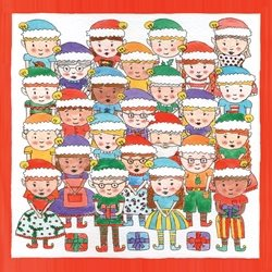 Dottie Mottie Elves Children christmas elf elves santa workshop red presents Father Christmas personalised online greeting card