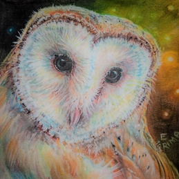 Little Liz Happy Art Barn owl beauty barn owl, owl, eye,  personalised online greeting card
