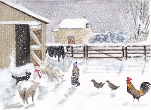 Christmas Chickens  snowman personalised online greeting card
