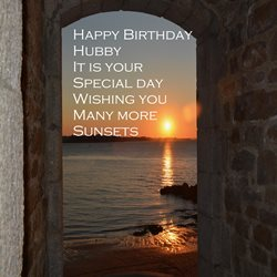 Birthday Sunset, sea, beach, husband hubby z%a personalised online greeting card
