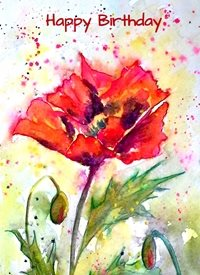 General artwork poppy  flower for-her personalised online greeting card