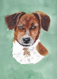 General art Dogs Jack Russell  Mans' best friend Tan and white  personalised online greeting card