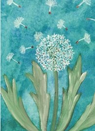 General Artistic painting  dandelion seedhead blue green personalised online greeting card