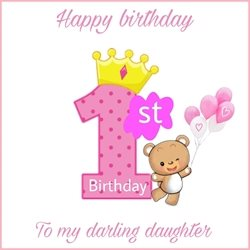 Birthday Children  , girl , 1st , love , pink , teddy  personalised online greeting card