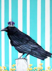 art Black bird crown animals z%a personalised online greeting card