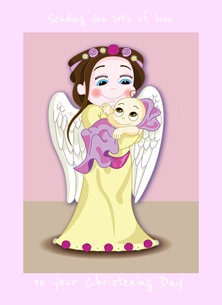Andrew Alan Art Christening Day - Girl christening girl christening, christening, christening day, new baby, baby girl, personalised online greeting card