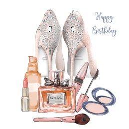 Birthday Fashion, Shoes, Make-up, Beauty, for-her, Any age card, for-mother, for-aunt, for-cousin, for-sister,  personalised online greeting card