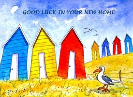 home artwork house beach huts funny seagulls for-him for-her  personalised online greeting card