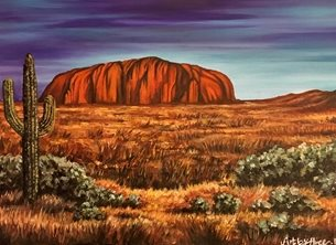 Art  greeting cards by Art By Three  holidays ayres rock uluru landscape australia cactus deserts for-him for-her  bon voyage Ayres Rock