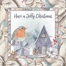 christmas Robin, Poinsetta, Flowers, Birds,  personalised online greeting card