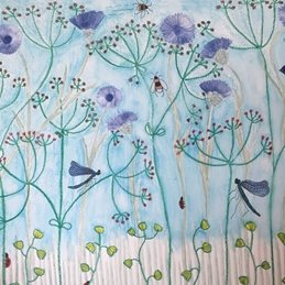 general flowers, cornflowers, cow parsley, contemporary art personalised online greeting card