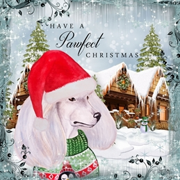 CHRISTMAS POODLE dogs personalised online greeting card
