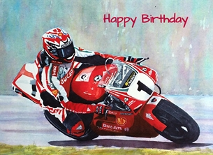 Birthday artwork  motorbikes  motorcycles motorcyclists racing for-him personalised online greeting card