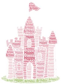 Birthday children pink girls castle  personalised online greeting card