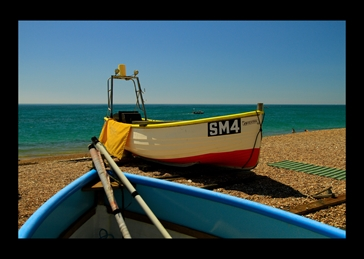 photography Fishing Boats, Worthing, Beach, Seaside personalised online greeting card