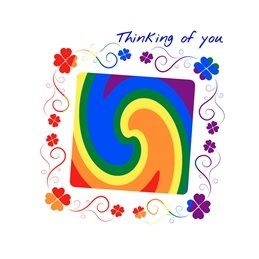 By Eva Happy Note lgbt THINKING YOU pride lgbt gay rainbow happy cheerful thinking note for-him for-her for-child personalised online greeting card