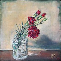 art jar, carnations, flowers, red, painting, canvas, simple personalised online greeting card