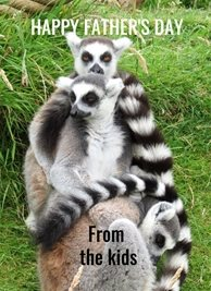 Fathers  lemurs kids children personalised online greeting card