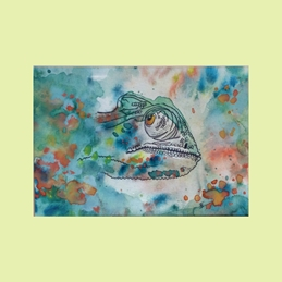 art Chameleon Animals  personalised online greeting card