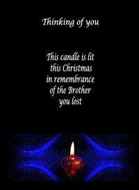 sympathy Flickering Candle Black Blue Red Sad brother z%a personalised online greeting card