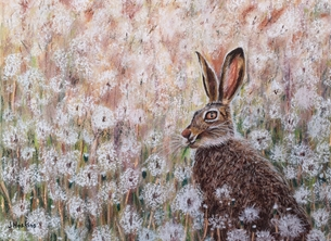 General hare animal wildlife nature dandelion art personalised online greeting card