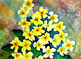 General primroses flowers Spring yellow green   mum daughter Nan aunt friend for-her personalised online greeting card