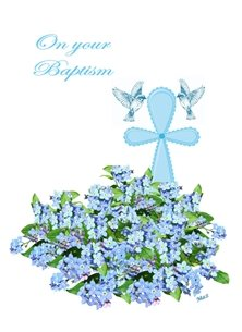 Her Nibs  On your Baptism 2 Christening Baptism Boy Flowers Cross Dove Blue White Green for-children Wholesale personalised online greeting card