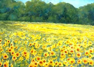 General artwork sunflowers flowers landscape  for-her personalised online greeting card