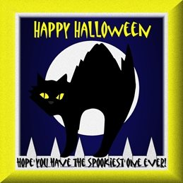 Halloween  Black Cats, Full Moon, White Picket Fence, Dark Night, Halloween, Holidays, Spooky, Scary, Scared, Spooked, Scariest, Spookiest. Hair Raising, Arched Back personalised online greeting card