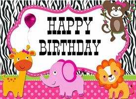 Children birthday Animals, cute, zoo, fun personalised online greeting card