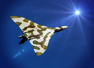 Photography Vulcan, jet, bomber, aircraft, aeroplane, airplane, RAF personalised online greeting card