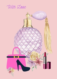 Her Nibs  With Love  Perfume Bottle,Hand Bag,Lipstick, personalised online greeting card