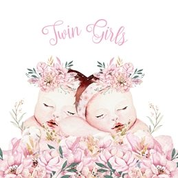 Baby Girls, Flowers, Floral, Pink personalised online greeting card