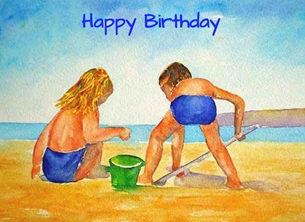 EmilyJane Beachtime Birthday artwork beach water sea sand for- children children personalised online greeting card