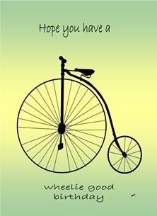 Birthday For Him For Her Penny Farthing Bicycle green black yellow  personalised online greeting card