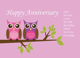 Madelein De Beer Anniversary card anniversary for-her,  owls, tree, pink, purple, animals personalised online greeting card