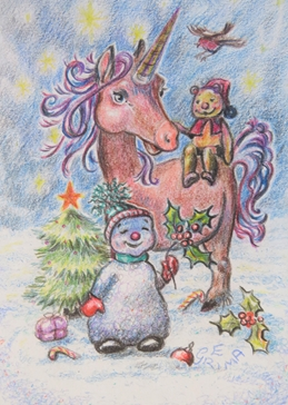christmas unicorn, snowman, friends, snow, Christmas tree, robin, holly, stars, starry sky, winter, cute, for-children personalised online greeting card
