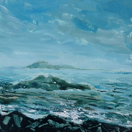 Mary Dodd Art St. Michael's Mount, Penzance art St. Michael's Mount, Penzance painting fine art seascape sea waves  personalised online greeting card