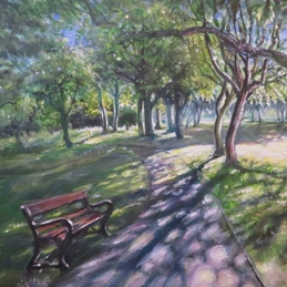 art Sun, path, seat, trees, grass, personalised online greeting card