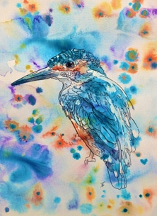 Art kingfisher wildlife bird popart abstract art modern  personalised online greeting card