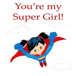 Children Birthday superhero, girl's, card, supergirl, children's personalised online greeting card