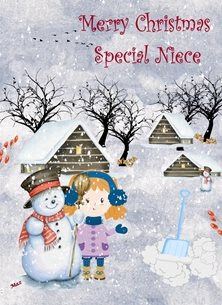 Christmas Snowman Girl Houses Snow Shovel Trees Blue White Red Purple  personalised online greeting card