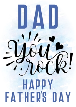 Little Bird Greetings Cards Dad you Rock Father's day card fathers FATHER dad personalised online greeting card