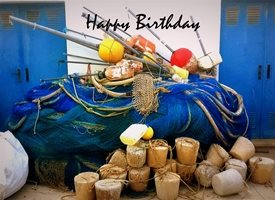 Birthday fishing sea boat sea wave tackle summer love z%a personalised online greeting card