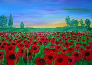 Karen J Jones Poppy Field at Sunset Art Poppies, poppy field, remembrance day,  fallen soldiers, Christian card,  summer flowers, floral,  red, girl, mum, birthday, memorial, countryside  personalised online greeting card