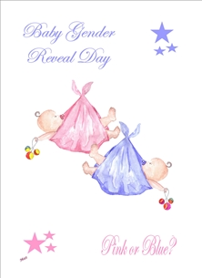 baby Gender reveal baby boy girl pink blue for-her Wholesale personalised online greeting card