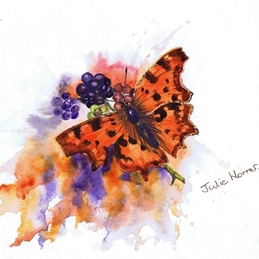 General butterfly, flower, comma, bramble, blackberry personalised online greeting card