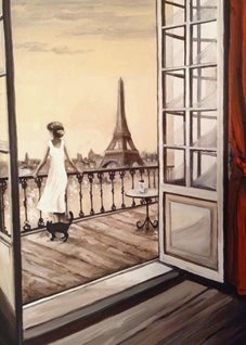 fineart Paris  Eiffel Tower France oils art blank general all occasions for-him for-her  romance love girlfriends anniversary black Cats Paris landscapes woman  romance balcony curtains red doors rooms  landscapes city views  fineart personalised online greeting card