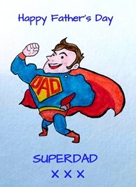 EmilyJane Superdad Fathers artwork for-children father dad superman blue red yellow for-him personalised online greeting card
