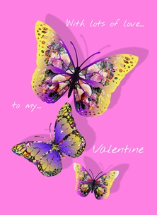 Butterfly Valentine card - pink
